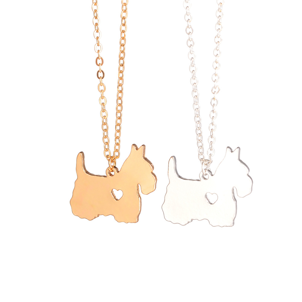 Emas & perak 1 pc Skotlandia Terrier Kalung Scottie Kalung Kustom Anjing Kalung Liontin Perhiasan Perhiasan Hewan Peliharaan pecinta Anjing