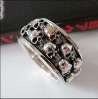 925 pure silver thai silver skull bolld male gold skull transport ring