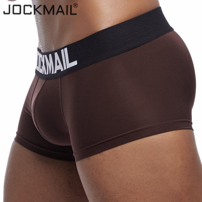 JOCKMAIL New Sexy Mens Underwear Boxer Shorts Mens Trunks Breathable Ice Silk Male Panties Underpants Cuecas Gay Underwear