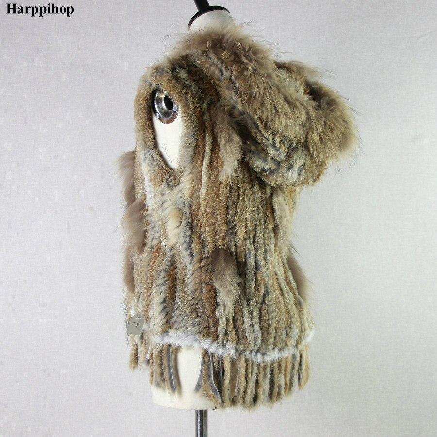 Harppihop модный кроличий мех жилет отделка мехом енота вязаный кроличий мех жилет с капюшоном меховой жилет