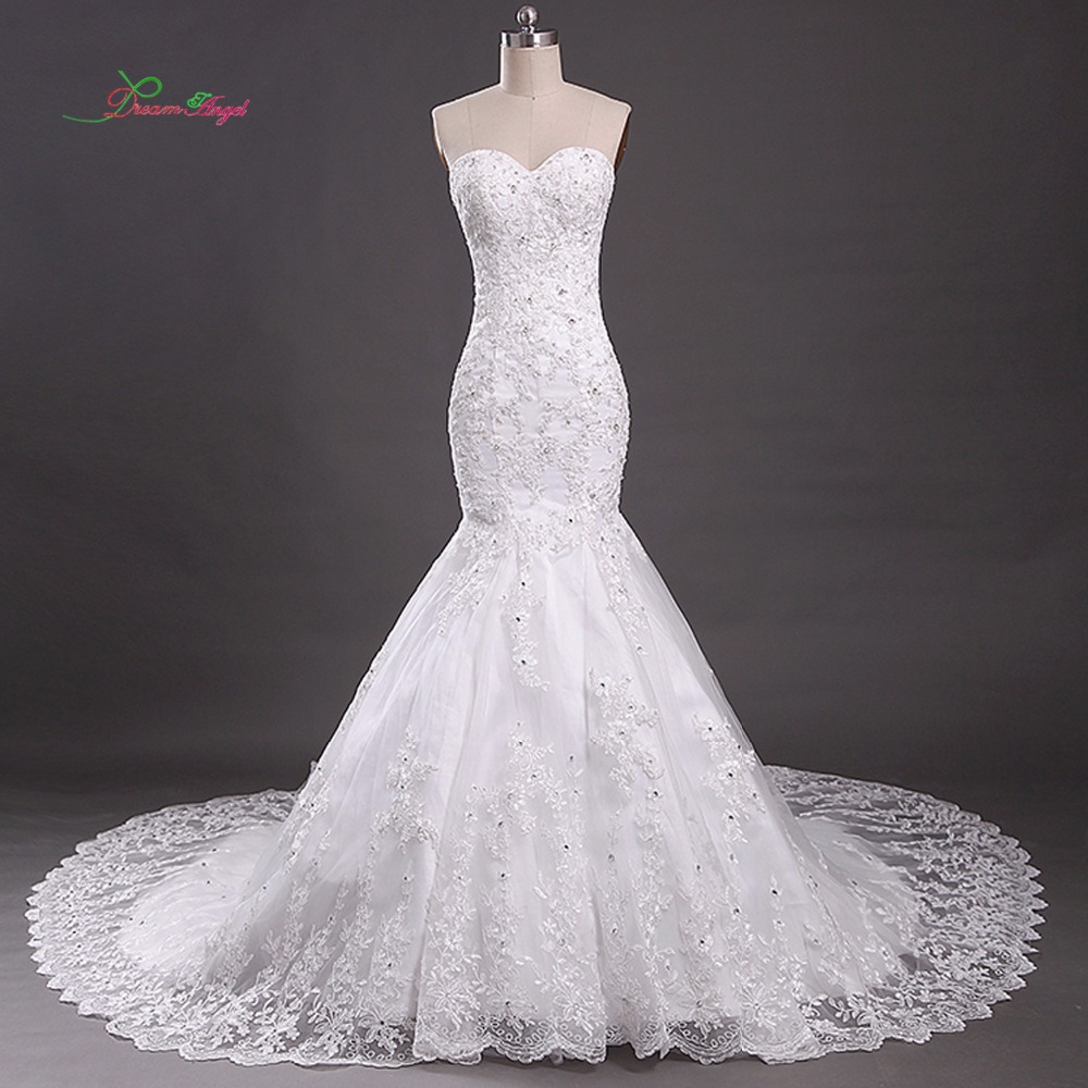 New Design Black Sweetheart Lace Up Crystal Embroidery: Dream Angel Sexy Strapless Lace Mermaid Wedding Dress 2018