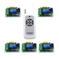 RF AC 220V 30A 1 Channel 5 Relay Wireless Learning Remote Control Switch Black White Transmitter