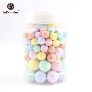 Image 1 - Lets make Baby Teether 200PCS Silicone Chew Beads Candy Color Set Necklace BPA Free Silicone Baby Shower Gift Silicone Teether
