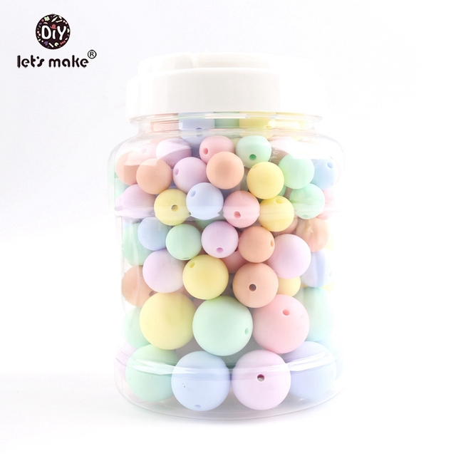 Lets make Baby Teether 200PCS Silicone Chew Beads Candy Color Set Necklace BPA Free Silicone Baby Shower Gift Silicone Teether
