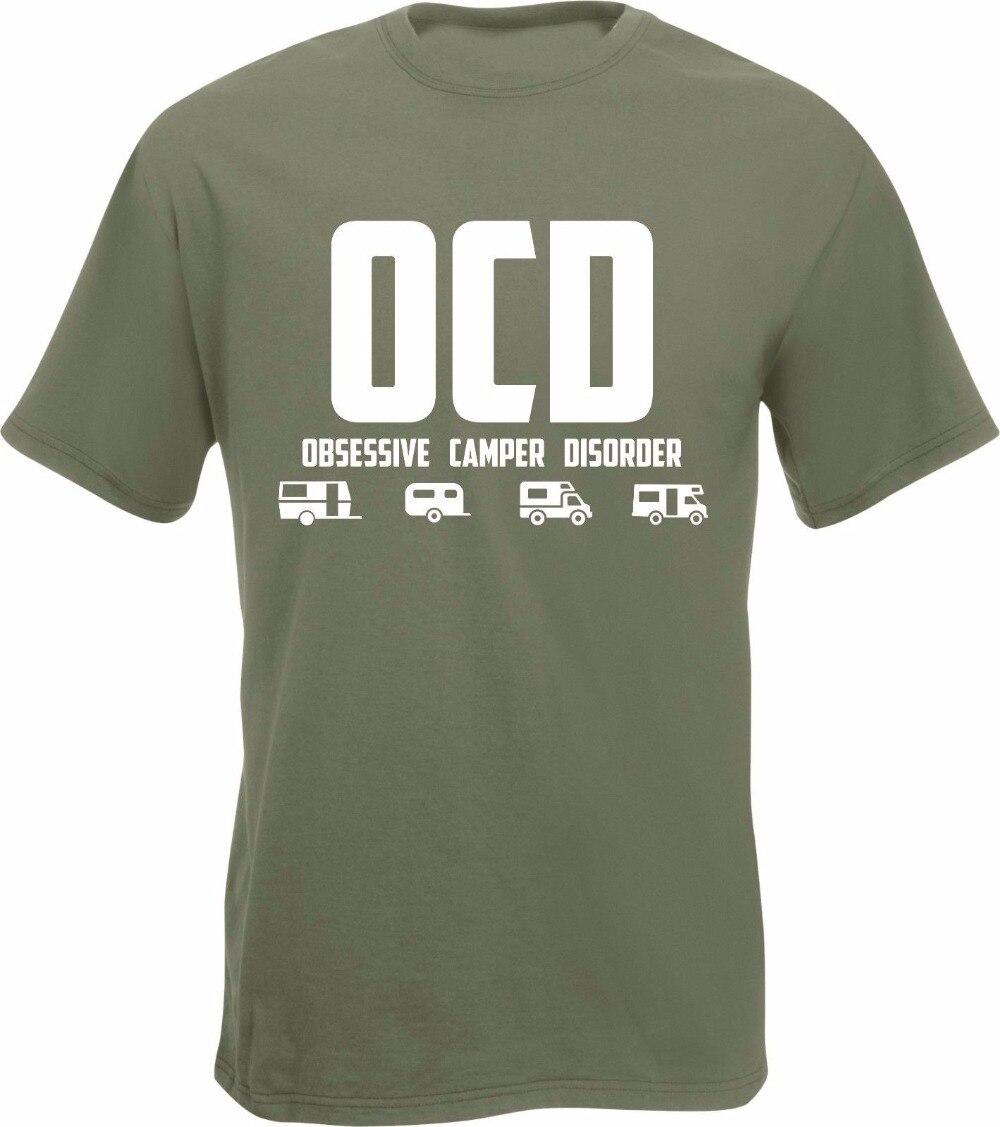 Cotton T Shirts OCD Obsessive Disorder T-Shirt Van Campervan Caravan Funny Tent plain Tee Shirts