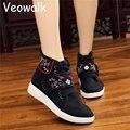 Veowalk Moda Bordado de Flores zapatillas de Skate Zapatos de Lona Étnica de la Moda Cómoda Transpirable Paseo de Las Mujeres Escoge los zapatos