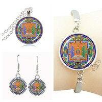 Indian Necklace Sacred Om Buddhism Necklace Earring Set Jewelry For Women Dubai Jewelry Set Mandala Bracelet