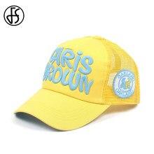 9b00e15e45097 FS Fashion Hip Hop Hat Snapback Mesh Breathe Hats Letter Baseball Caps  Outdoor Women Men Yellow Pink Streetwear Dad Cap Gorras