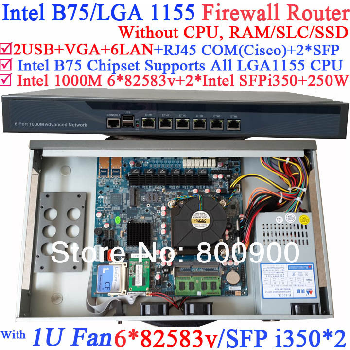 1U Firewall router Barebone PC with B75 chipset two SFP ports intel i350 six 82583v 1000M LAN NO CPU Wayos ROS Mikrotik support
