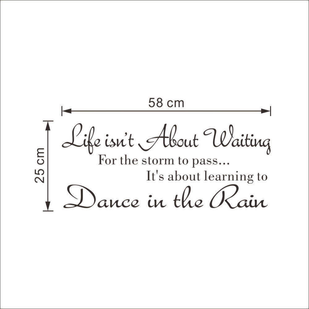 Creative Fashion Text Life Isn/'t About Waiting Wall Stickers Quote Dancing