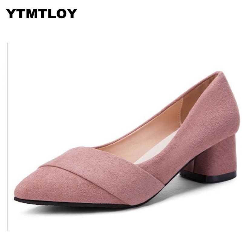 2019 Women Mules Slipper Pointed Toe Block Strap Closed Shallow High Heels Shoes Sandals Pumps Bridal Sexy Heels Pink  Zapatos
