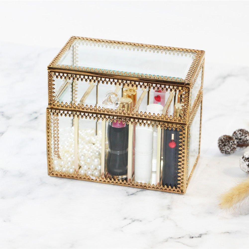 Cosmetic Table Glass Lipstick Storage Box Cosmetic Table Top Storage Box Lipstick Rack Holder