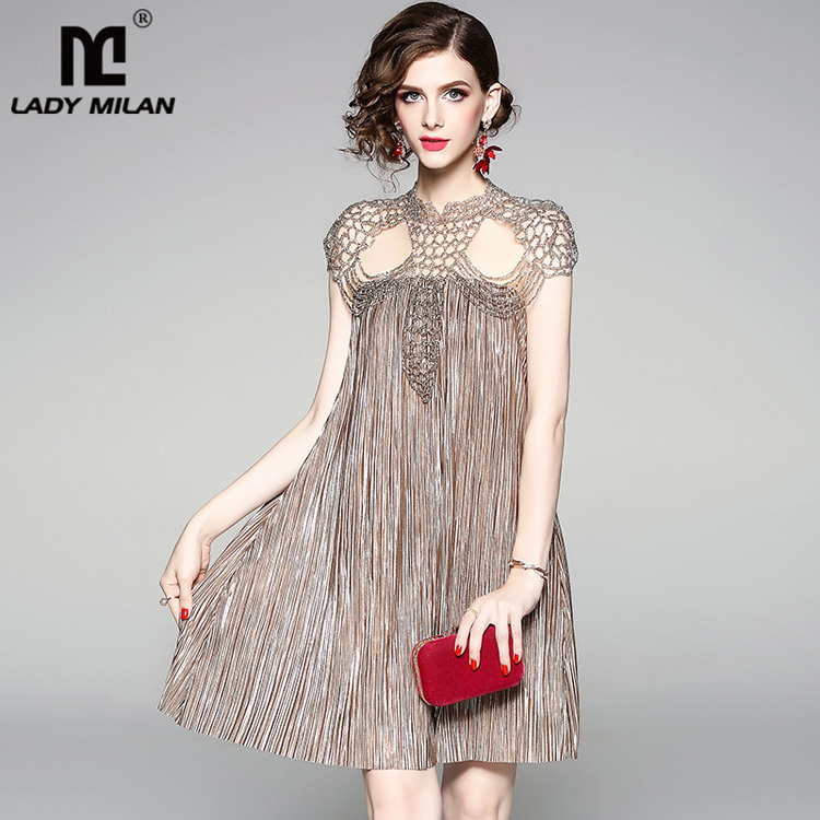 Lady Milan Women s O Neck Short Sleeves Beaded Sexy keyhole Fashion Party Dresses High Street