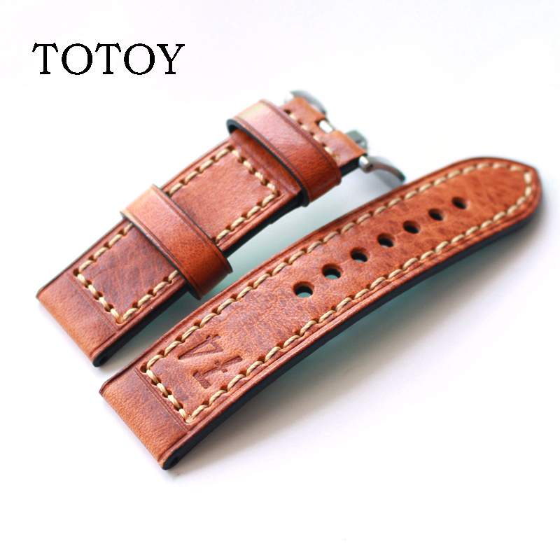 TOTOY Italy high quality resin leather watch strap men 22MM 24MM watch band retro printed strap for luxury mechanical strap PAM все цены