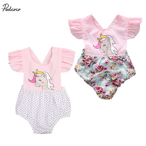 Cute Newborn Baby Girls 2017 New Summer Floral Unicorn Romper Sleeveless Jumpsuit Outfits Sunsuit 0-2T