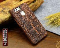 High Quality Wood Case For Huawei P9 Wooden New Cover Natural Real Bamboo Carving Wood Back