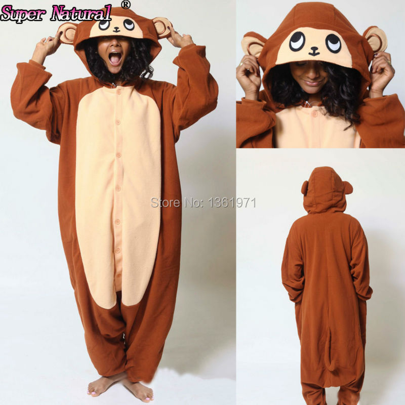 HKSNG Brown Monkey Pajamas Animal Winter Warm Women Girls Fleece Onesies  Adults Kigurumi Homewear Cosplay For party-in Pajama Sets from Underwear ... 94b24bf51965e