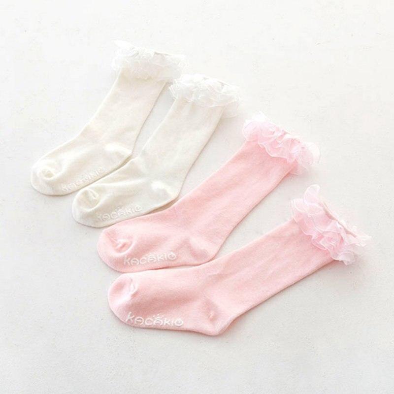 New Baby Boys Girls Princess Soft Cotton Lace Knee Length Socks Stocking S01