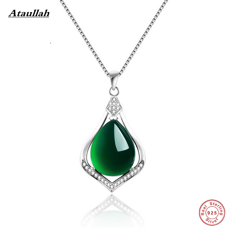 Ataullah Real 925 Sterling Silver Natural Jade Link Chains Pendants Necklaces for Women Sterling Silver Jewelry SSN005