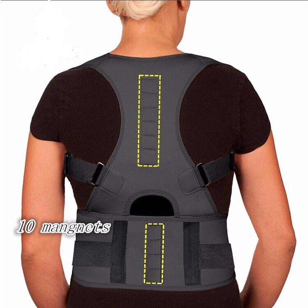 Neoprene Magnetic Posture Corrector Back Corset Brace Straightener Shoulder Back Belt Black Spine Support Belt for Men Women