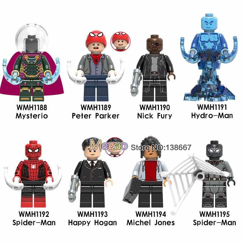 Single Spiderman Mysterio Peter Parker Cyborg Happy Hogan Nick Fury Building Blocks Far From Home Movie  Toys For Children