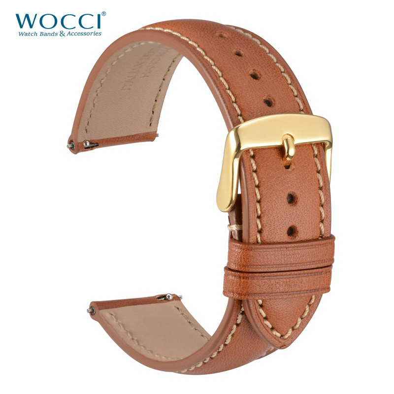 WOOCI 18mm 20mm 22mm Watch Band Genuine Leather Watch Strap Brown Black With Stitching Quick Release Watchband Replacement Belt