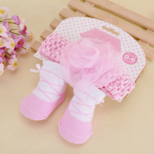 Korean Fashion Sweet Ballet Baby Socks Floral Hair Band Sets Lovely Bowknot Lace Antislip Infants Featured Cotton Hosieries