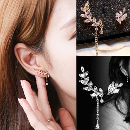 2017 New Fashion Women S Asymmetric Leaf Ear Clip Chain Drop Dangle Cuff Earrings