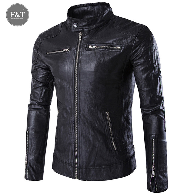 [Asian Size] New British Style Leather Jacket Men Stand Collar Punk Leather Jacket Coats Motorcycle Jackets Jaqueta De Couro
