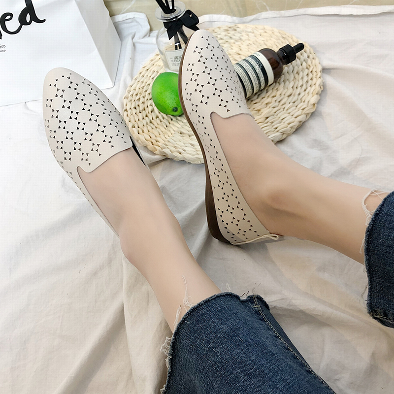 Women Ballet Flats Pointed Toe Slip on Shoes Cut-outs Flats Shoes White Loafers