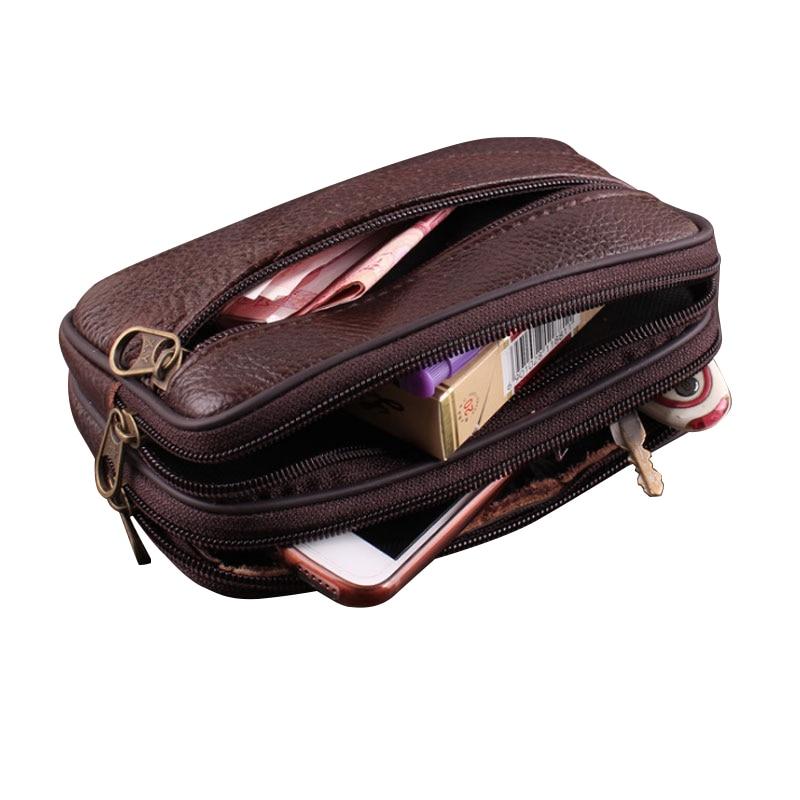 Double Zipper Men's Leather Waist Belt Multi-function 6 Inch Layer Skin Mobile Bag Pockets