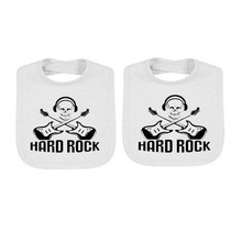 YSCULBUTOL 2 pcs/lot  twin baby bibs Rock Roll Unisex white bodysuit Gift Showing