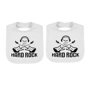 YSCULBUTOL 2 pcs/lot  twin baby bibs Rock Roll Unisex white bodysuit Gift Showing