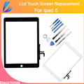 Comerciante ll calidad aaa piezas de repuesto para ipad air 5 5th panel frontal digitalizador de pantalla táctil + asamblea flex cable + adhesivo + herramientas