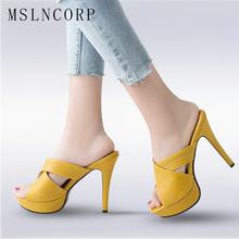 Plus Size 34-43 New Women Shoes Slippers Slides Summer Sexy High Heels Wedding Shoes Platform High Heels Fashion Party Pumps capputine summer fashion high heels shoes and bags set new africa style rhinestone pumps shoes and bag set for party ym005