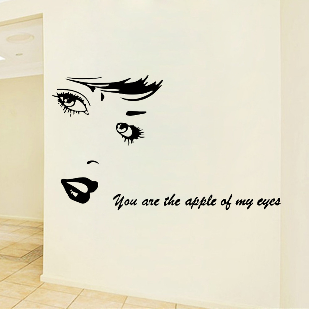 Aliexpress buy beauty vinyl wall stickers you are the aliexpress buy beauty vinyl wall stickers you are the apple of my eye love quotes decals diy art mural home bedroom wedding room decor from amipublicfo Images