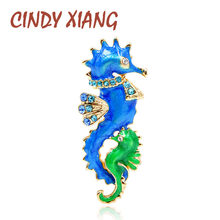 CINDY XIANG New Arrival Blue and Green Color Seahorse Brooches for Women Cute Enamel Sea Animal Brooch Pin Fashion Jewelry Gift(China)
