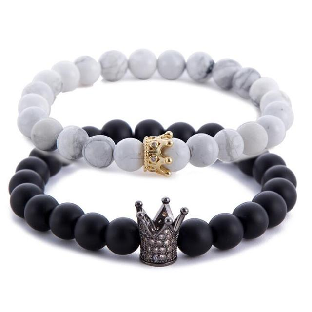DIEZI Valentine's Day Couple His And Hers Bracelets Distance Black & White Beads CZ Crown King Charm Stone Bracelet Lovers