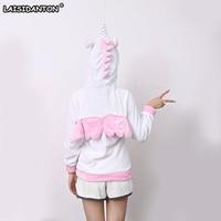 LAISIDANTON Fashion Cartoon Pink Unicorn Hoodies Anime Costume Adult Kawaii Bts Sweatshirt Women Winter Cute Panda