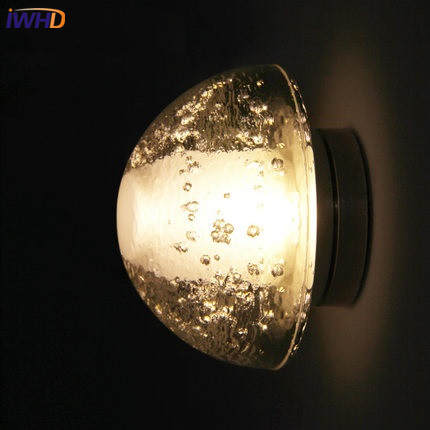 IWHD Cryst LED Wall Lamp Modern Home Lighting Creative Glass Wall Light Fixtures Fashion Bedroom Stair Sconces Wandlamp E27 black simple modern led wall lamp balcony bedroom aisle stair light fixtures wall sconces wandlamp appliques lampara pared