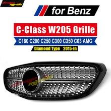 цены W205 Diamond Grille ABS For Mercedes Benz C-Class W205 C180 C200 C250 C350 C400 C450 Front grill Grille Non Sports 2015-2018