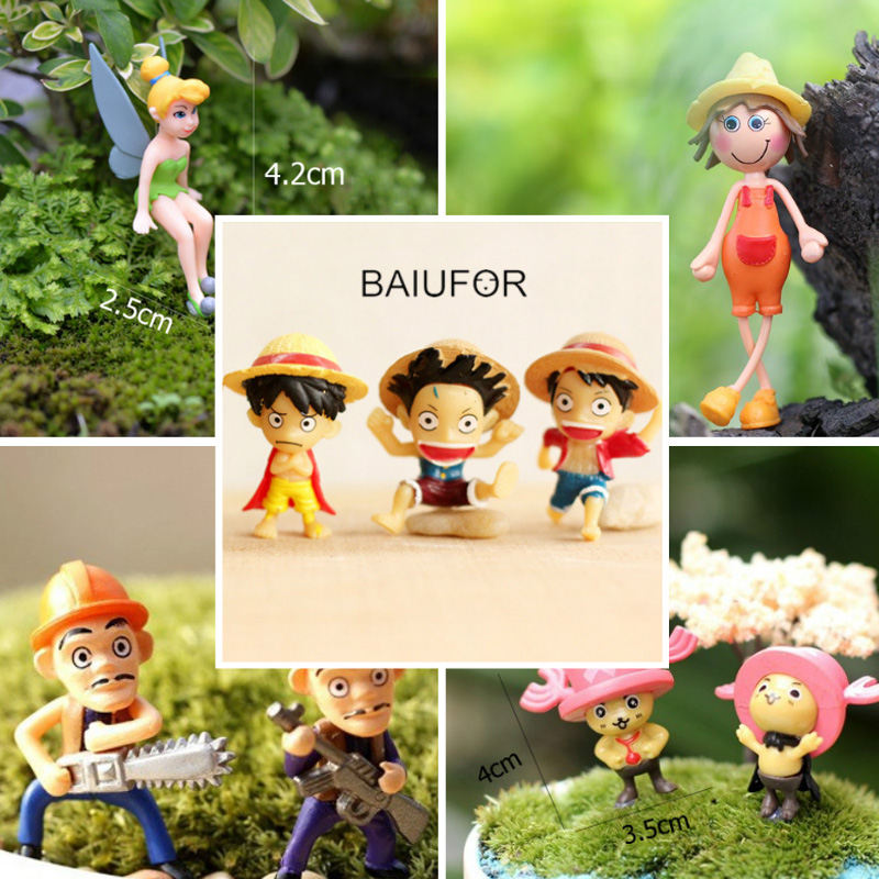 Artificial Cartoon Anime Figurines Models, Maruko Naruto One Piece Conan Doraemon Pokemon, Fairy Garden Miniatures