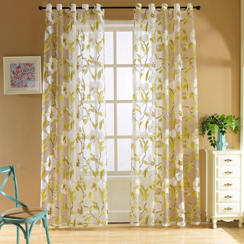 Yellow Big Floral Tulle Curtains For Living Room