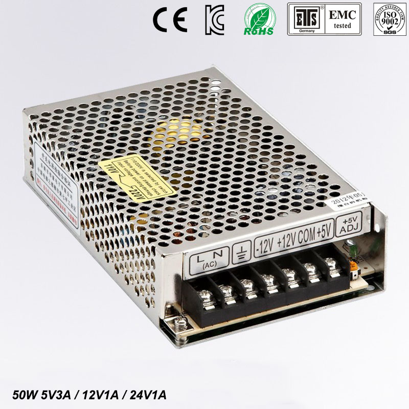 цена на 50W high quality Triple Output power supply 5V 3A 12V 1A 24V 1A ac to dc power supply T-50D CE approved