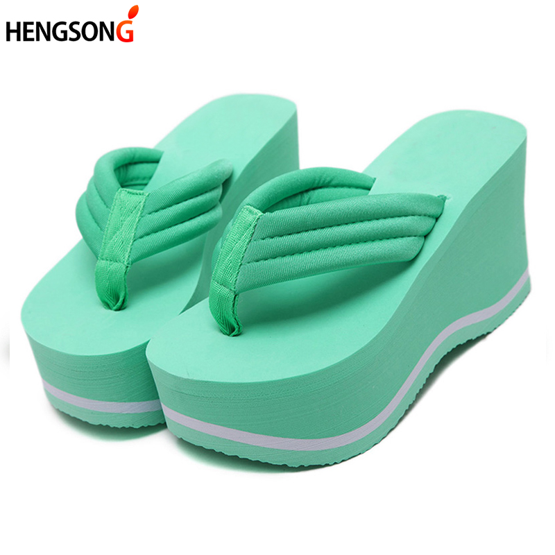 Women Beach Flip Flops Soild Wedge Platform Shoes Summer Slippers Women Shoe High Heels Beach Sandals Ladies Thick High Pantufas black red green pink summer sheepskin woman platform flip flops slippers thick high heels beach sandals for women open toe shoes