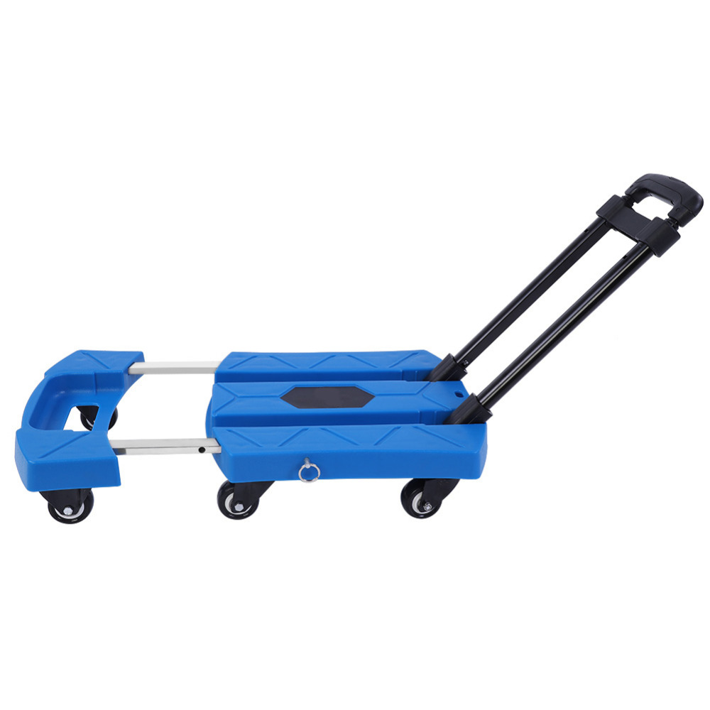 eefedbf982f1 US $27.01 25% OFF|6 Wheels Folding Portable Telescopic Handle Cart Blue  Household Shopping Trolley Portable Hand Truck Luggage Cart Carro  plegable-in ...