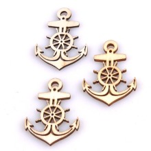 20pcs Natural Anchor Wooden Scrapbooking Carft for Home decoration 36x49mm MT0873