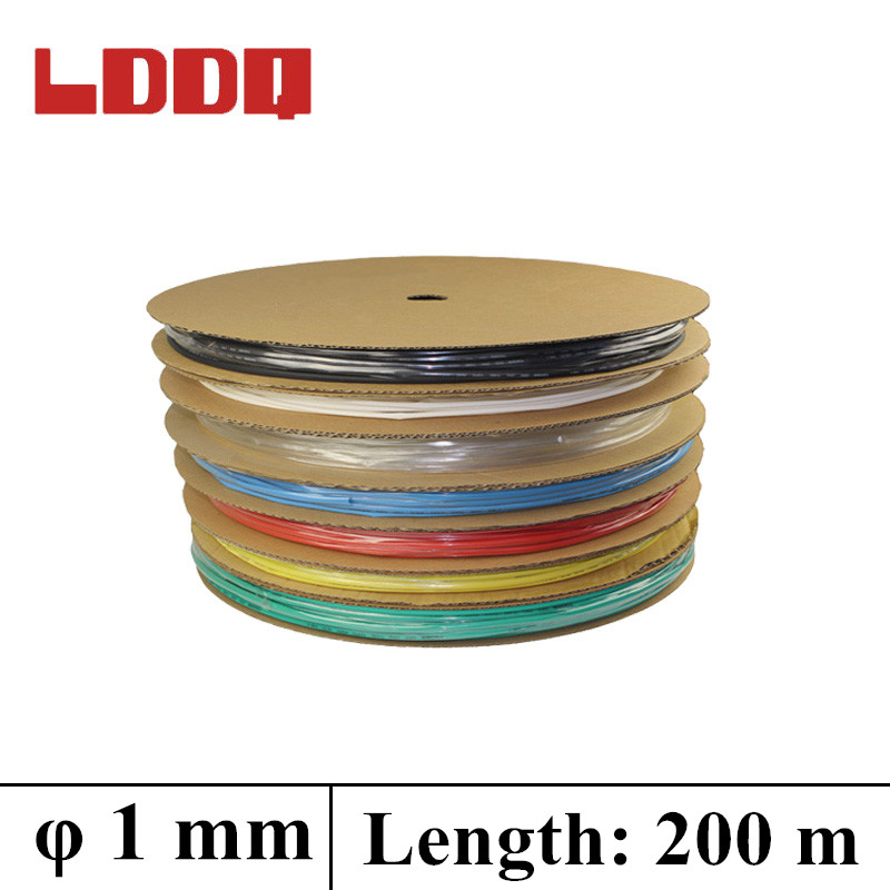 LDDQ 200m*1mm Heat shrink tubing 2:1 Heat Shrink Tube Tubing 600&1000V Low pressure Heat sleeve Cable Sleeving termoretractil