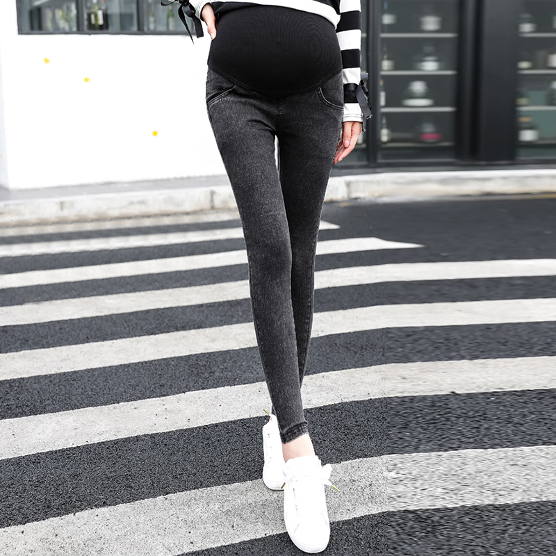 For Pregnant Women Capris Lady Maternity Jeans Trousers sexy Mesh perspective patchwork Pregnancy pencil Pants plus size m-2XL