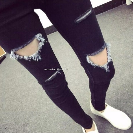 2017 Spring summer the new women's South Korea show thin loose black hole jeans female foot trousers